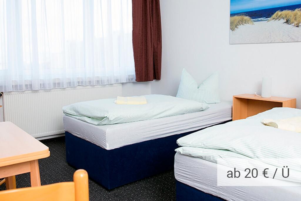 Gästehaus Rostock - Zweibettzimmer mit Gemeinschaftsbad